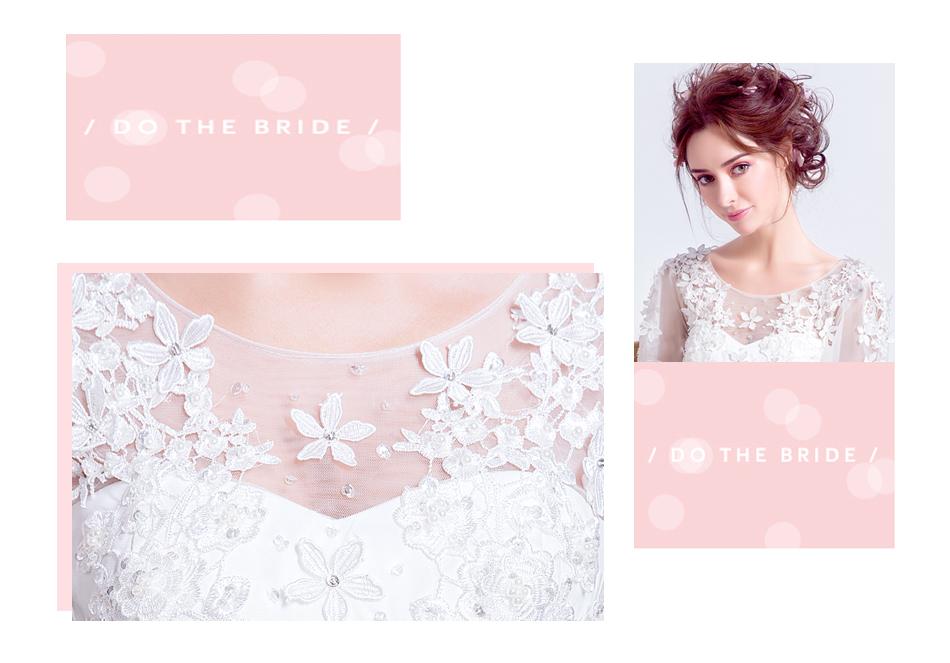 Angel Wedding Dress Marriage Bride Bridal Gown Vestido De Noiva 2017 Sweet, lace, flowers, long sleeves, 6011 3
