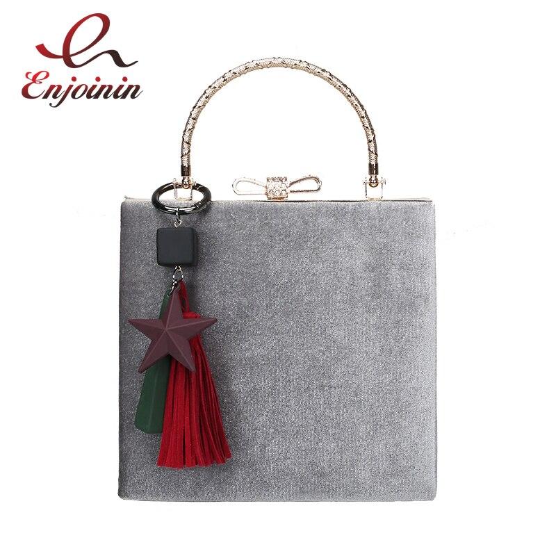 Vintage fashion box style ornament star tassel corduroy womens totes shoulder bag handbag ladies crossbody messenger bag <br>