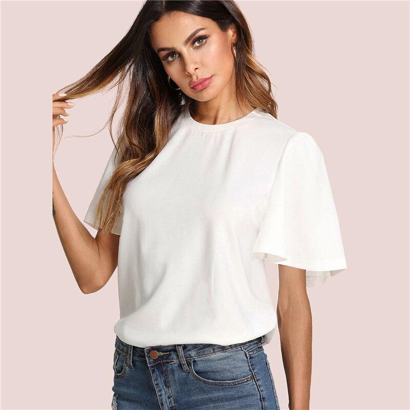 Sheinside Flutter Sleeve Zip Back Top 18 New Summer Short Sleeve Round Neck Blouses Women Plain White Elegant Blouse 11