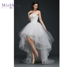Buy Vestido De Noiva 2018 New Tulle High Low Wedding Dresses Women Bride Sweetheart Front Short Back Long White Ivory Bridal Gown for $73.22 in AliExpress store