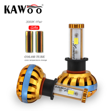 KAWOO Car led light Automobile Bulb Headlamp H3 72W Diy Change color temperature 6500K 3000K 8000K LED Headlights Fog Lights