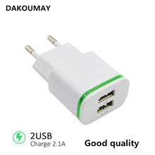 2 USB Charger 5V 2.1A EU Plug for Amazon 2015 New Kindle Fire 7 USB Adapter Mobile Phone Wall Charger for ZTE Blade X3