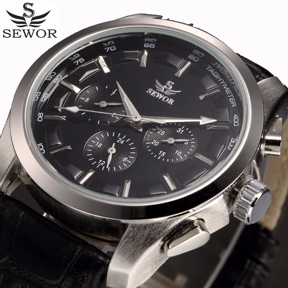 SEWOR Top Brand Luxury Mens Watches Sport Military Automatic Watch Men Auto Date Display LeatherWristwatches Relogio Masculino<br>