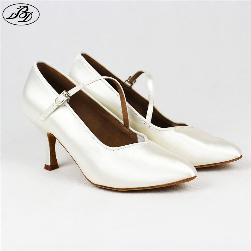 Women Standard Dance BD138 ClASSIC White Satin Ladies Ballroom Dance Shoes Soft  Anti Slid Leather Outsole High Heel Profession<br>