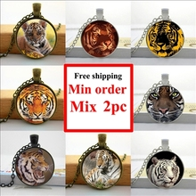 2016 Tiger Necklace Wild Animal Picture Jewelry Men's Accessory Glass Cabochon Necklace Pendant HZ1
