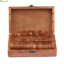 2017 New 70 Pcs DIY Letter Alphabet Stamp Vintage Teach Wooden Alphabet And Number Stamps Set With Wooden Box