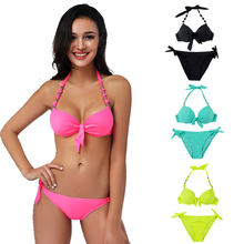 Bead Halter Bikini 2017 Women Lift Up Swimsuit Bunny Tie Swimwear Push Up Padded Biquini Large Cup Bathing Suit Tie Side Trikini