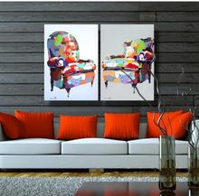 Hotselling Modern Group Abstract Heavy Texture Colorful Sofa Oil Painting on Canvas for Decoration(China)