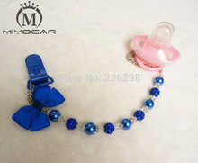 Buy MIYOCAR Stunning Royal Blue pearl bling rhinestone hand made pacifier clips chain holder dummy clip Teethers clip baby for $7.50 in AliExpress store