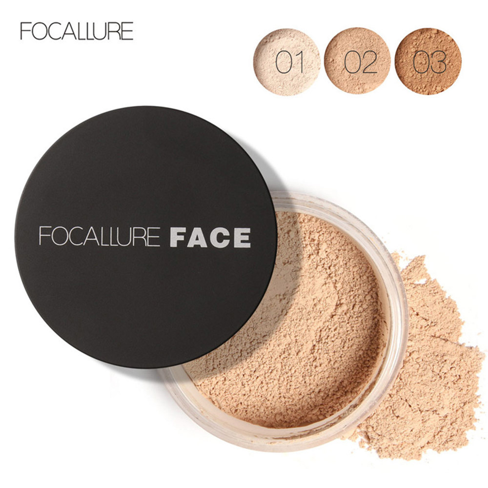 FOCALLURE Mineral Powder 3 Colors Face Makeup Palette Oil-control Translucent Powder Matte Korean Acrylic Compact Loose Powder(China (Mainland))