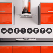 8pcs Cute Kitchen Decorative Pictograms Circle Cooking Tools Vinyl Diy Wall Sticker Kitchen adhesive Mural Decal Art Home Decor(China)