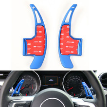 Car Styling Interior Mouldings Blue Steering Wheel Shift Paddle Extension Shifter Paddles Sticker For Ford Mustang 2015-2017(China)
