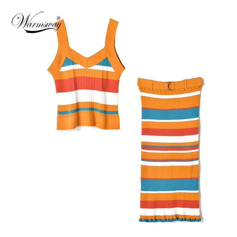 2019 Summer Sexy 2 Pieces Runway Women Striped Knitted Set Luxury V neck Spaghetti strap t shirt+Belt High Elastic Skirt C-206