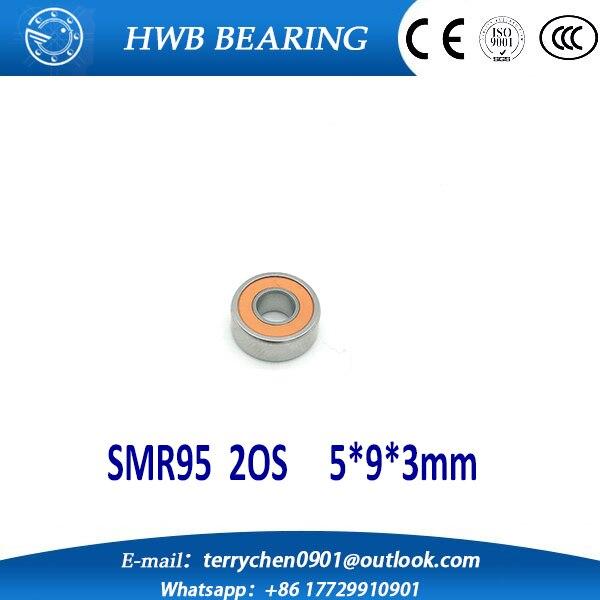 Free shipping 2PCS 5X9X3mm SMR95 2OS CB ABEC7 Stainless Steel Hybrid Ceramic Bearings/Fishing Reel Bearings SMR95C 2OS SMR95-2RS<br><br>Aliexpress