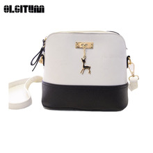 OLGITUM New Arrival Women Shoulder Bag Deer Small Shells Bag 2017 Women Leather Cross Body Bag Popular Message Bag 6 colors F555