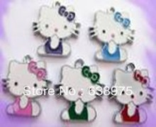 100pcs Glass Hello kitty style Hang Pendant Charm Zinc alloy fit necklace cell phone charms(China)