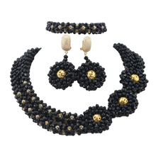 Trendy Fashion Black Jewelry Set Gold Statement Necklace Earrings Set Indian Beaded Jewelry for Women 2017 Free Shipping ABL589