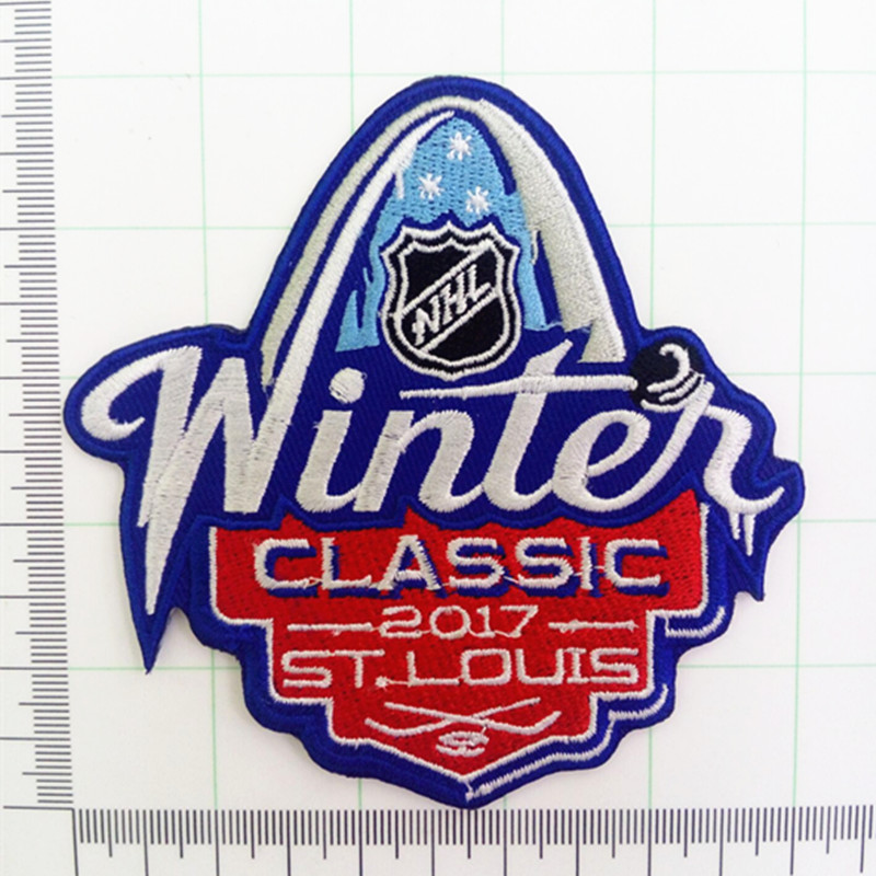 2017 NHL Winter Classic Jersey Patch St. Louis Blues vs Chicago Blackhawks Iron on or Sew on Embroidered patch(China (Mainland))