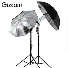 "Gizcam 33""/83cm Studio Light Lighting Black Silver Photo Umbrella Reflective Reflector Photography Photo Studio kits(China)"