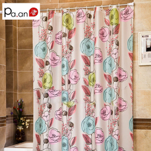 Pastoral Waterproof PEVA Shower Curtains Colorful Flower Printed Eco-friendly Bathroom Curtain Product Cortina Ducha 180x180cm
