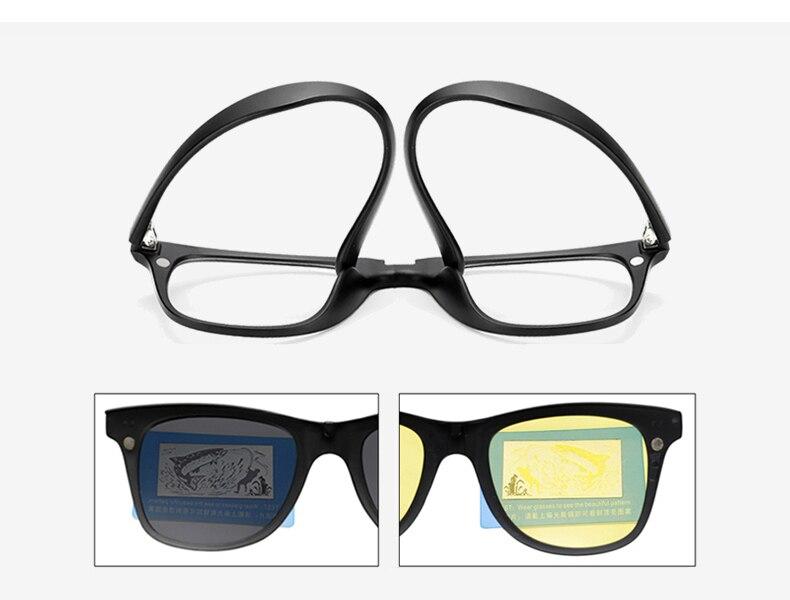 Ralferty 2018 Multi-Function Magnetic Polarized Clip On Sunglasses Men Women Ultra-Light TR90 3D Yellow Night Vision Glasses 2