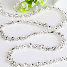 White Fancy Rhinestone Chain 1yard DIY Bags, Garment, Shoes, Cell Phone, Box, Pen, Furniture, Greeting Cards Wedding dress(China)