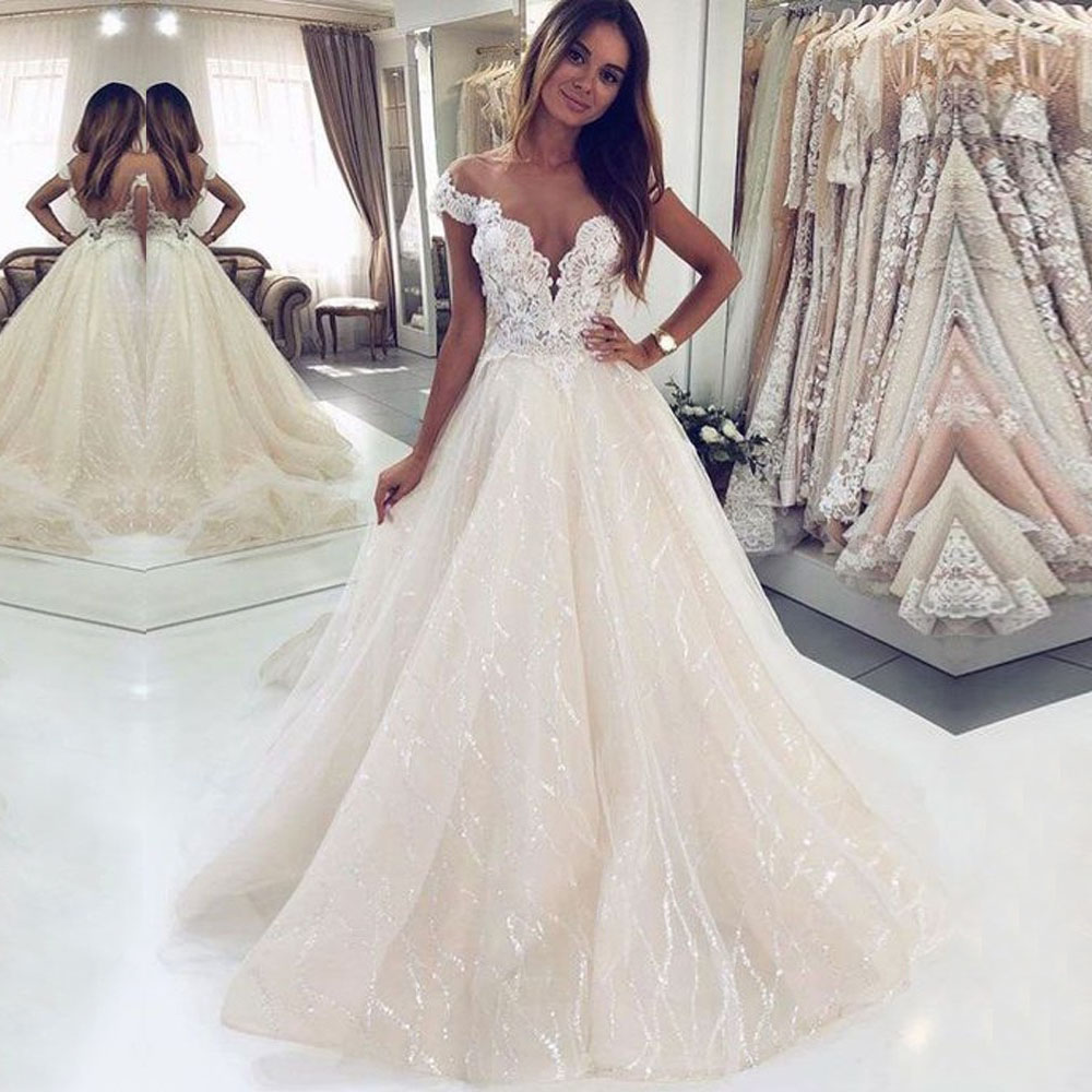 ZL1046 New Sexy Cap Sleeves Backless Lace Sequins Tulle Wedding Dresses Bridal Gown Celebrity vestido De Noiva robe de mariee