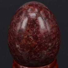 34x44MM Natural Stone Dark Red Spot Jasper Sphere Egg Chakra Healing Reiki Carving Crafts Minerals W/Stand(China)