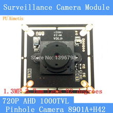 "PU`Aimetis 3.7mm flat cylinder Mini Pinhole camera HD 1/4 ""CMOS image sensor 1000TVL CCTV night vision camera module(China)"