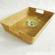 Pure Handmade Seaweed Woven Cup Tray Light Food Debris Storage Basket Cups, Tableware Storage Basket 37x28x8cm