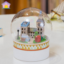 London street  Mini Glass Ball Model Building Kits Handmade Wooden Miniature Dollhouse Toy Christmas Gift