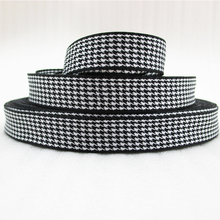 "5Y45499  5/8""(16mm) scottish white black printed polyester ribbon 5 yards, DIY handmade materials, wedding gift wrap"