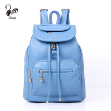 LUOQI Women Backpack 4 Color High Quality PU Leather Summer Style Cover Backpacks Designer Teenager Or College School Bags