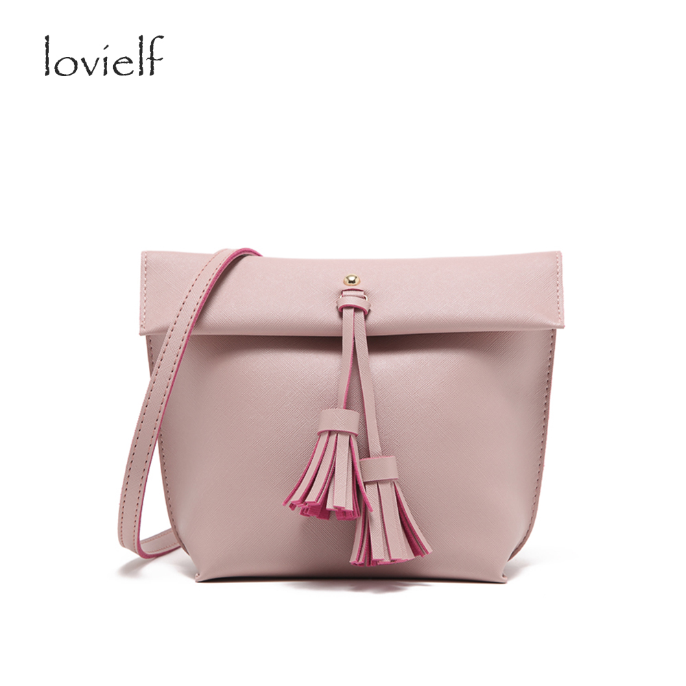 lovielf Simple Fashion Elegant office lady Tassel Zipper Pink PU Hobos Cross body Bags Shoulder bag Cross pattern Messenger bags<br><br>Aliexpress