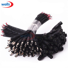 Newest 5-50pcs DC female/male 5.5x2.1 Connector Plug Cable Wire use For CCTV Camera 3528 5050 LED Strip Light