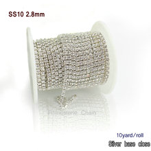 New chance deal wholesale prices 10yards/lot silver base close chain ss10  about 2.8mm clear crystal white rhinestone chain