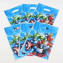 Avengers Alliance Cartoon Plastic Gift Bags Boy Kids Birthday Party/Wedding Decoration Supplies Favors Disposable Loot Gift Bag