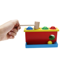 Wooden Hammering Ball Toy Fun Baby Kids Playing Hamster Hammer Box Children Knocking Hammer Early Learning Educational Toy