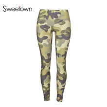 Buy Sweetown Camo Fitness Low Waist Elastic Leggings Women Ankle-length Workout Leggings Print Stretchy Trousers Skinny Legging 2018 for $11.27 in AliExpress store