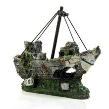 For 11.11  Wreck Sunk Ship Aquarium Ornament Sailing Boat Destroyer Fish Tank Cave Decor Free shipping