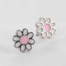 925 Sterling Silver Colourful Rainbow yellow pink Daisy Flower Cute Multi Color Girl Post stud Earrings Woman Jewelry Fashion