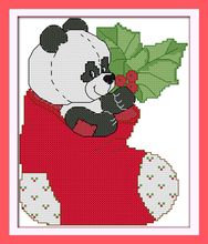 The panda in Christmas stockings Printed cross stitch Wall Decor Paintings Handmade Home Decoration Knitting Set DIY Embroidery(China)