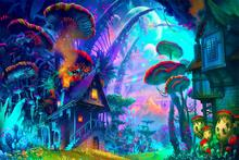 Custom Canvas Wall Decor Fantasy Art Wallpaper Drawing Nature Psychedelic Colorful House Poster Mushroom Planet Stickers #1721#