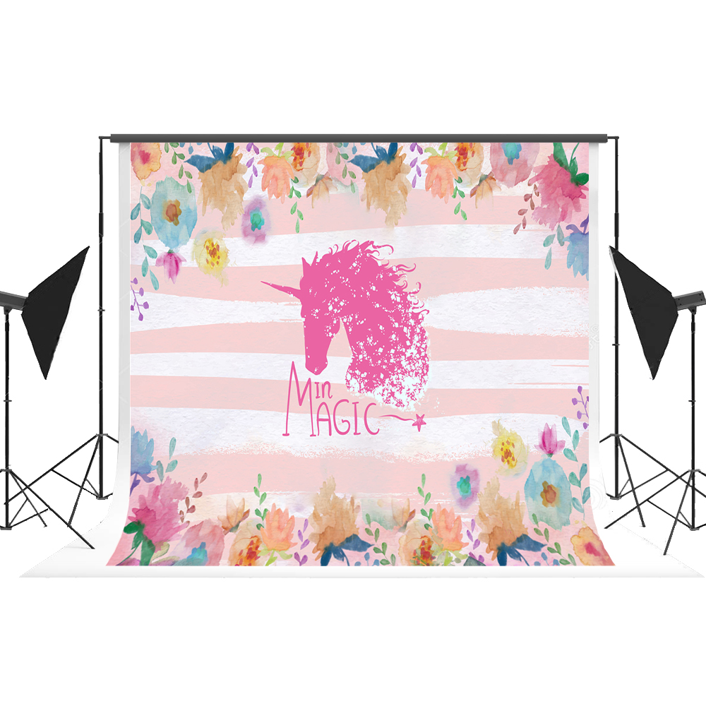 Kate 7x5ft / (2.2x1.5m) Photography Unicorn Party Theme Backdrop Pink Wall Photo Backgrounds Props for Ceremony Fond Studio<br>