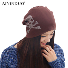 New Arrive Fashion Women Winter Sleeve Caps Ladies Skull Hot Fix Rhinestone Pattern Cotton Knitted Maternal Cap Baggy Beanies