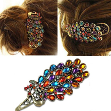 New Hot, Hair wholesale  accessory fashion vintage peacock multi-colored crystal hairpin hair accessory small accessories