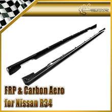 EPR Car Styling For Nissan Skyline R34 GTR Carbon Fiber Nismo Style Side Skirt Extension Glossy Fibre Accessories Racing Trim
