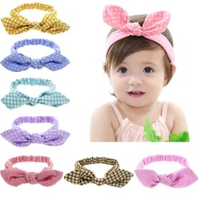 Kids Headband Top knot headbands Headwrap Pink Bunny ears hairband cotton Little girls turban accessories 1pc HB419(China)