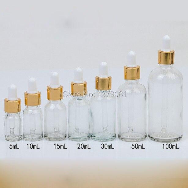5ml,10ml,15ml,20ml,30ml,50ml,100ml Clear Mini Glass Bottles with Dropper DIY Sample Vial Essential Oil Bottle Gold Rim<br>