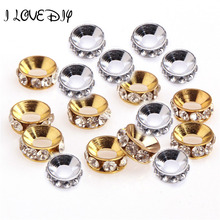 20 pcs/lot Rhinestone Crystal Silver Gold Big Hole Spacer Beads brilliant Fit Bracelet for DIY jewelry making Mujer(China)